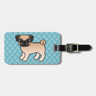 Apricot Fawn Pug With Morrison Mask Cartoon Dog Luggage Tag