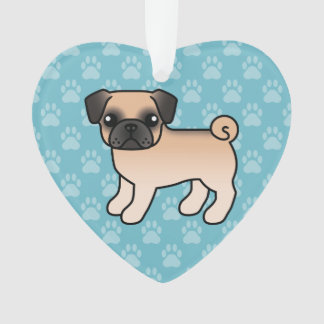 Apricot Fawn Pug With Morrison Mask Cartoon Dog Ornament