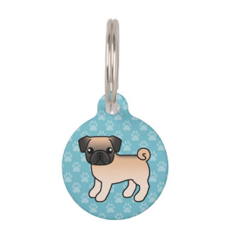 Apricot Fawn Pug With Willoughby Mask Cartoon Dog Pet Tag