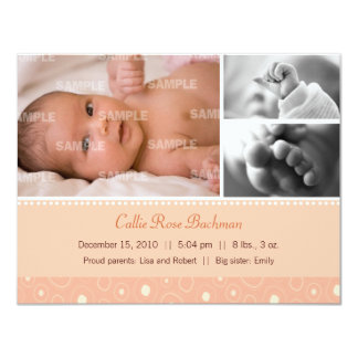 Apricot Gumdrop Baby Birth Card