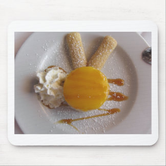 Apricot jam covered ice cream cake mouse pad