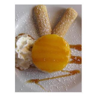Apricot jam covered ice cream cake postcard