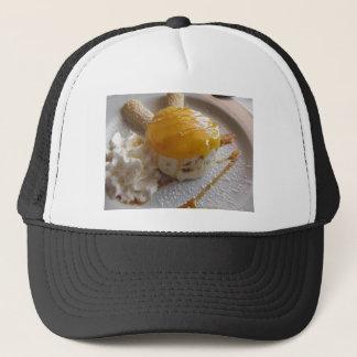Apricot jam covered ice cream cake trucker hat