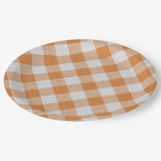 Apricot Orange Country Cottage Gingham Stripes 9 Inch Paper Plate