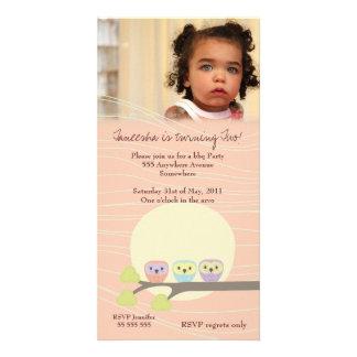 Apricot Owls Girls Birthday Party Premium Invite Customised Photo Card