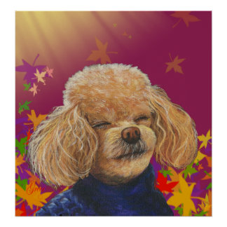 Apricot Poodle & Fall Leaves Poster Print