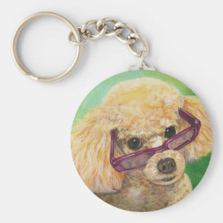 Apricot Poodle in Shades Portrait Original Key Ring