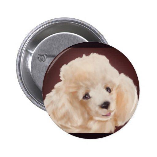 Apricot Poodle Portrait Button