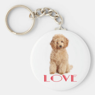 Apricot Poodle Puppy Dog Red Love Key Chain