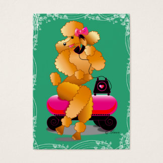 Apricot Poodle Retro Telephone Business Card