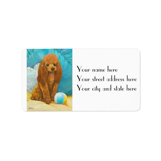 Apricot Red Poodle & Ball Address Label