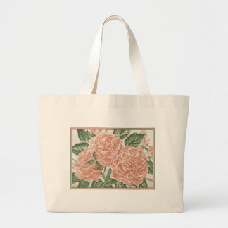 Apricot Roses Flower Garden Painting Canvas Bags