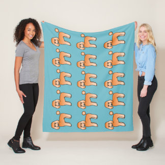 Apricot Standard Poodle Dogs Pattern On Blue Fleece Blanket