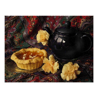 Apricot Tart with Blue Teapot and Carnations Poster