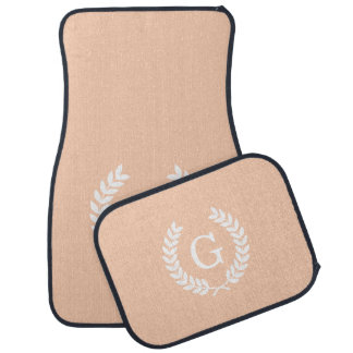 Apricot White Wheat Laurel Wreath Initial Monogram Floor Mat
