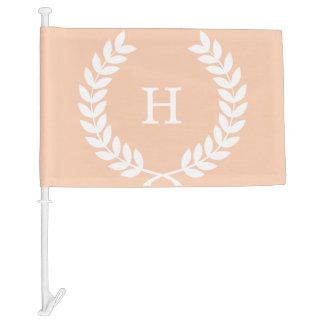 Apricot White Wheat Laurel Wreath Initial Monogram Car Flag