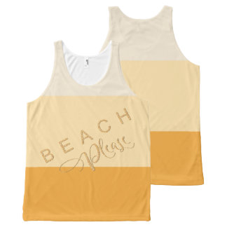 Apricot Yellow Stripes - Beach Please Gold Glitter All-Over Print Singlet