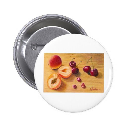 apricots and cherries pinback button