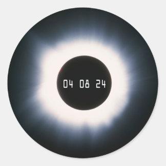 April 2024 Total Solar Eclipse in Black and White Classic Round Sticker