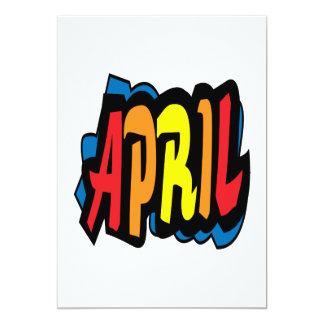 "April 2 5"" x 7"" invitation card"
