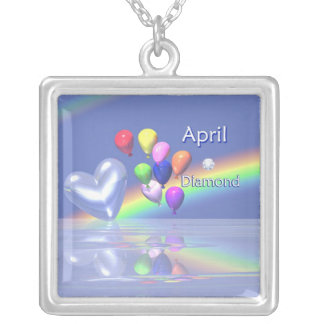 April Birthday Diamond Heart Silver Plated Necklace