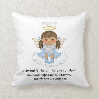 April Birthstone Angel Brunette Cushion