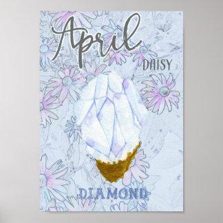 April Daisy and Diamond Birthday Poster
