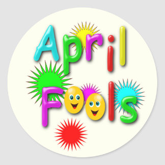 April Fools Day, Funny Colourful Round Sticker