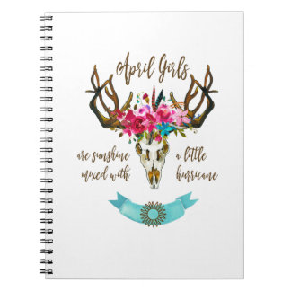 April Girls Are Sunshine. Boho Skull Bohemian Notebook