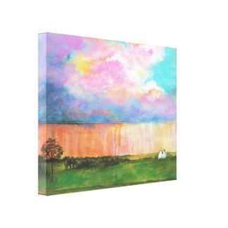 April Showers Abstract Landscape House Painting Gallery Wrapped Canvas