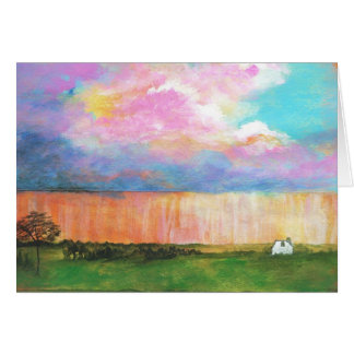 April Showers Abstract Landscape House Painting Greeting Card