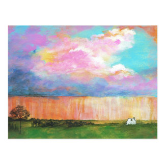 April Showers Abstract Landscape House Painting Postcard