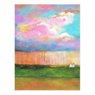 April Showers Abstract Landscape House Painting Post Card