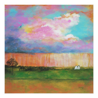 April Showers Abstract Landscape House Painting Poster