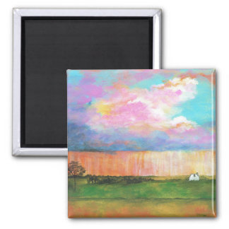 April Showers Abstract Landscape House Painting Square Magnet