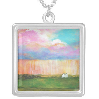 April Showers Abstract Landscape House Painting Square Pendant Necklace