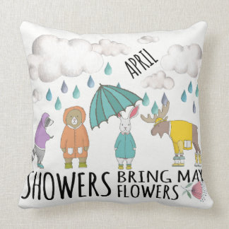 April Showers Animals in Raincoats Cushion