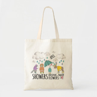 April Showers Animals in Raincoats Tote Bag