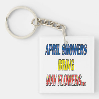 April Showers Bring May Flowers Double-Sided Square Acrylic Key Ring