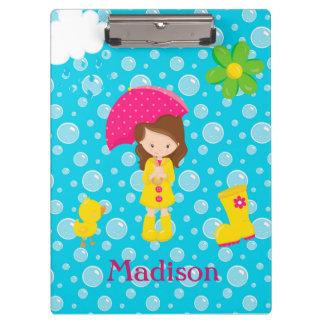 April Showers Girl Pink Umbrella Blue Bubbles Clip Clipboard