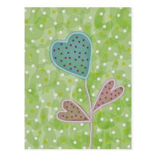 April Showers Heart Flower Postcard