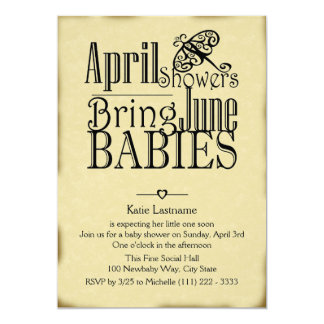April Showers June Baby 5x7 Paper Invitation Card