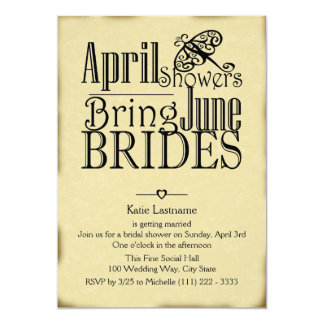 April Showers June Brides 5x7 Paper Invitation Card