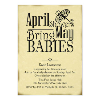 April Showers May Baby 5x7 Paper Invitation Card