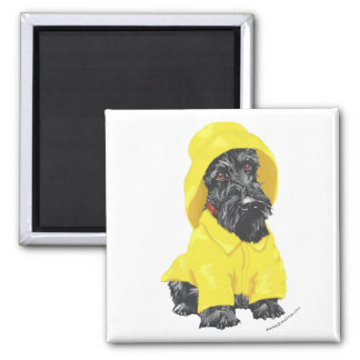 April Showers Scottish Terrier Square Magnet
