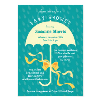 """April Showers"" Umbrella Baby Shower Invitation"