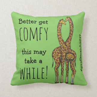 April the forever pregnant giraffe throw pillow