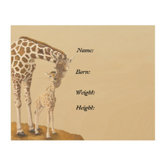 April The Giraffe Birth Announcement Plaque Wood Wall Art