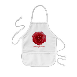 """Apron - Child's - """"Mommy's Helper"""" - Red Red Rose"""