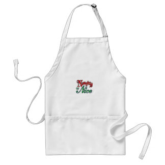APRON NAUGHTY OR NICE RED AND GREEN CHRISTMAS